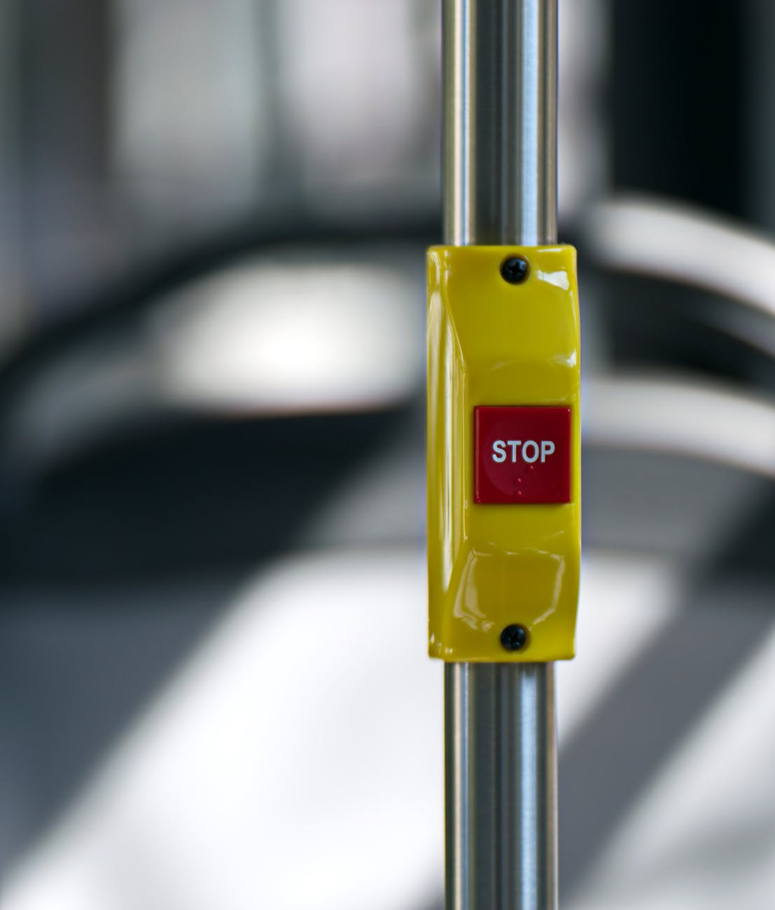 yellow and red stop button